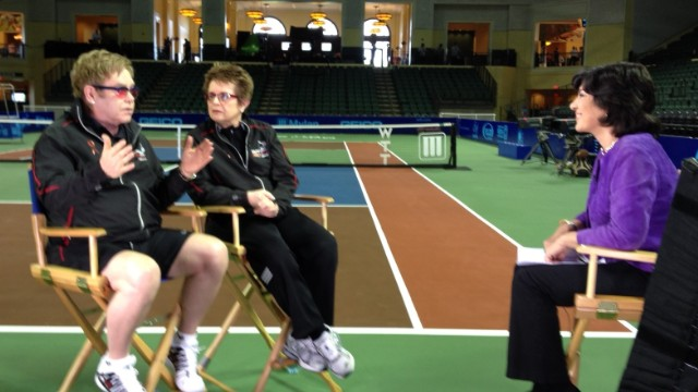 CNN's Christiane Amanpour interviews Billie Jean King and Elton John in Orlando, Florida on November 17, 2013.