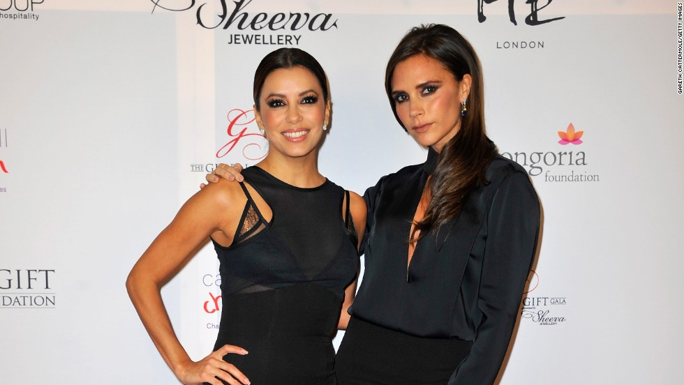 Eva Longoria and Victoria Beckham attend the London Global Gift Galaon November 19 in London, England.