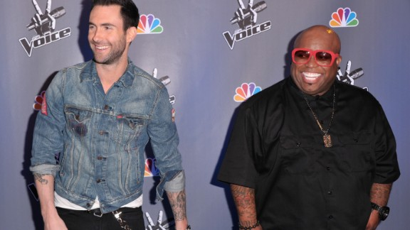 "Levine and singer Cee Lo Green arrive at a press conference for ""The Voice"" in Los Angeles in 2011."
