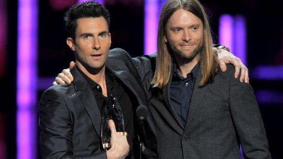 Levine and bandmate James Valentine accept their People's Choice Award for Favorite Band in 2012 in Los Angeles.
