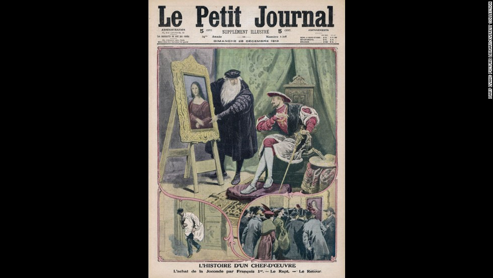 This drawing, on the December 28, 1913, issue of Le Petit Journal, shows Da Vinci showing the Mona Lisa to King Francois I. Below that are drawings of the painting's theft and recovery.