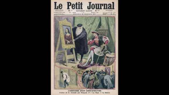This drawing, on the December 28, 1913, issue of Le Petit Journal, shows Da Vinci showing the Mona Lisa to King Francois I. Below that are drawings of the painting