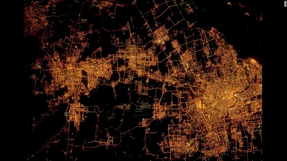 Shanghai, China, and its suburbs.