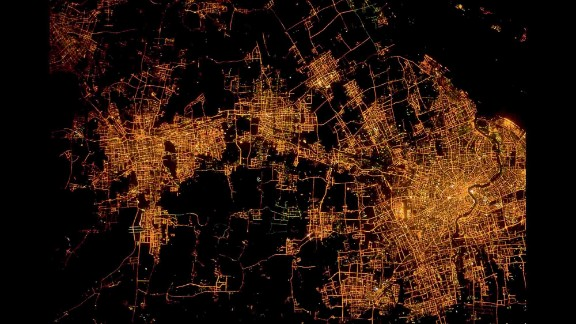 Shanghai, China, and its suburbs.