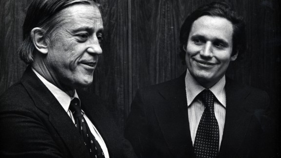 """Ben Bradlee, left, photographed with reporter Bob Woodward, was executive editor of The Washington Post during its coverage of the Watergate scandal and """"successfully challenged the Federal Government over the right to publish the Pentagon Papers,"""" the White House said."""
