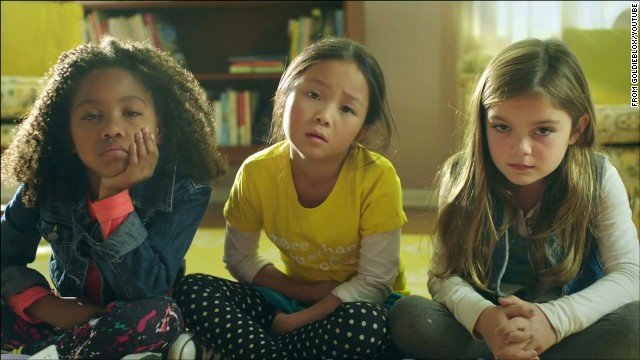 "The ad features 3 girls creating a ""Rube Goldberg"" contraption."