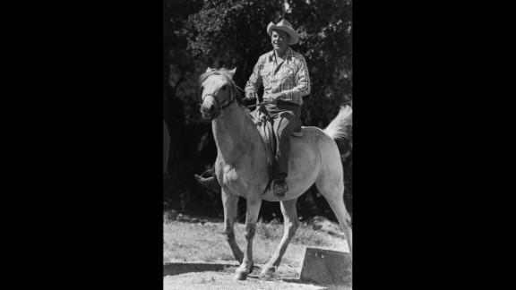 Ronald Reagan enjoyed riding horses at his ranch near Santa Barbara, California.