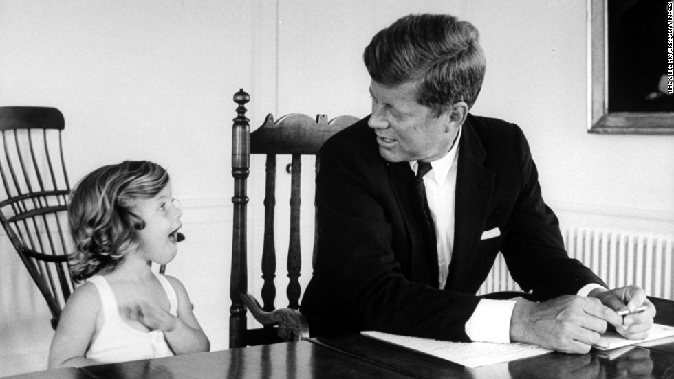 Senator John F Kennedy With Daughter Caroline In August 1960