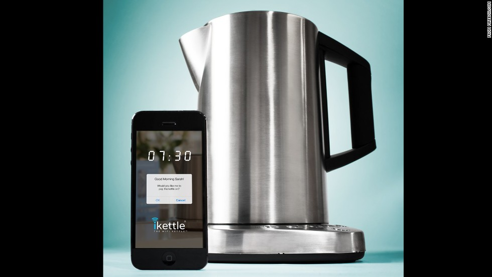 "<strong>iKettle</strong>. Sure, you can fill a pot with water and let it heat up on the stove. But where's the fun in that? The iKettle will wake you up, boil your water and do it all remotely. Sure, it's more expensive than standard kettles, but that's a small price to pay for a product that ""may cause you to fire your butler/maid and throw away your alarm clock,"" in the words of its promotional material. <a href=""http://www.firebox.com/product/6068/iKettle"" target=""_blank"">(Available through Firebox</a>, $160.79)"