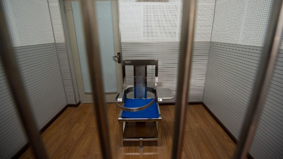A restraining chair inside Beijing's No.1 Detention Center during a guided media tour on October 25, 2012.