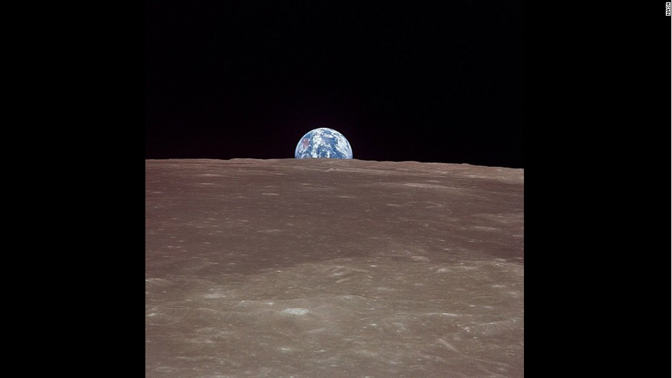A historic image of Earth from the moon, taken on July 20, 1969, from Apollo 11.
