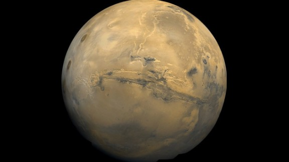 To celebrate the launch of Mars probe MAVEN on  November 18, NASA showed off this mosaic from the Viking 1 Orbiter, which passed by the planet over 30 years ago, on February 22, 1980.