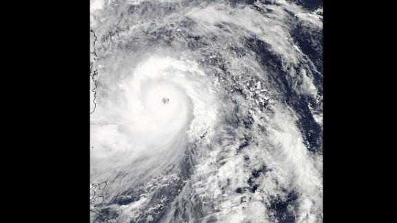 Super Typhoon Haiyan lashing the Philippines, taken from NASA