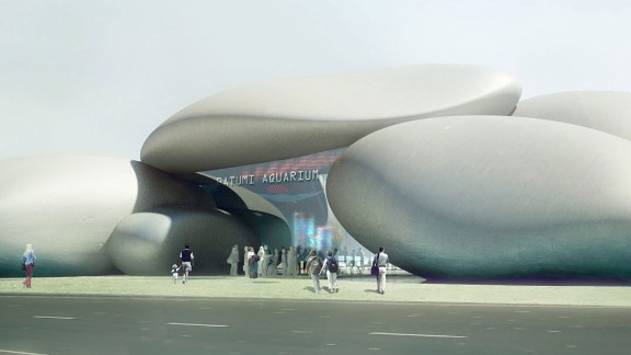 The Batumi Aquarium in the seaside city of Batumi, Georgia, is inspired by pebbles that wash out on its beaches. The structure, which resembles a rock formation, is due for completion in 2015 and will be visible from both land and sea.