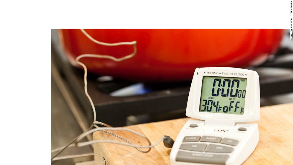 The temperature will drop a little when you first add the food to the pot, so monitor the temperature as you proceed and adjust as needed.