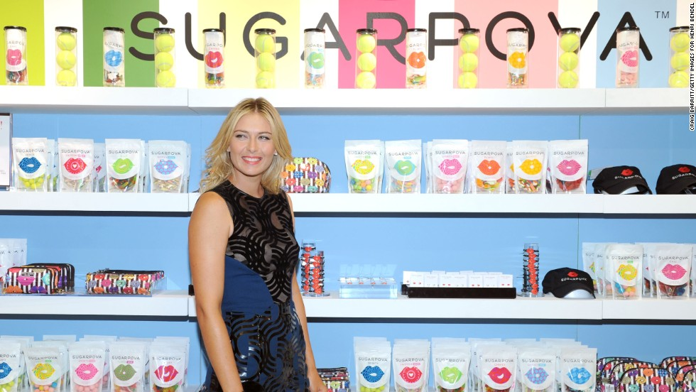 Sharapova didn't play a match after Cincinnati because of a recurring shoulder injury but still showed up in New York ahead of the U.S. Open to promote her candy company.