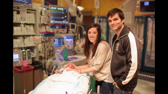 Benjamin and Lyndsey Miller spend time with their son in the NICU at Nationwide Children's Hospital in Columbus, Ohio.