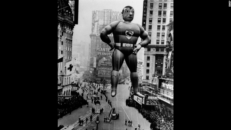 "<strong>Superman (1939):</strong> ""It's a bird! It's a plane!"" No, its a typical joke that's associated with the Superman balloon that debuted in 1939. The Man of Rubber has graced the parade with three different versions of himself, also in 1966 and in 1980. The third version is the largest balloon ever to appear in the history of the parade (104 feet long)."