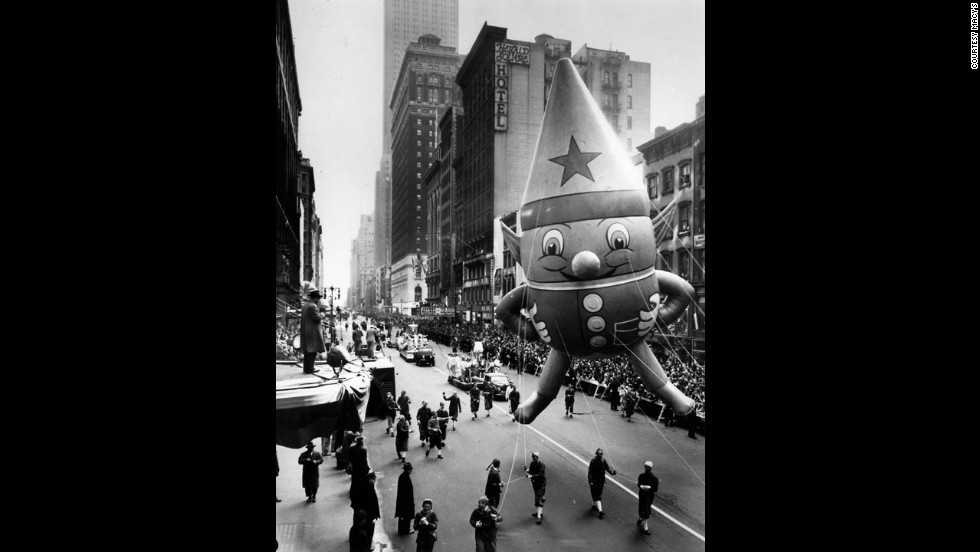 <strong>Elf gnome (1947):</strong> The parade started being televised in the late 1940s. It first appeared on CBS, but NBC has been the official broadcaster since the 1950s. There have been a variety of hosts for NBC's coverage of the parade, including Betty White, Ed McMahon, Bryant Gumbel, Willard Scott, Katie Couric, Meredith Vieira, Ann Curry, Matt Lauer and Al Roker.