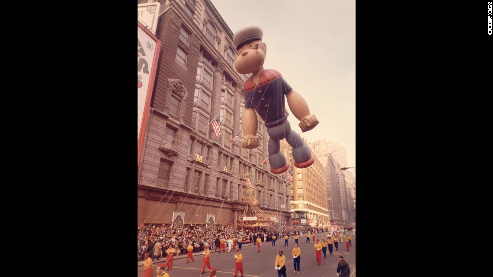 <strong>Popeye (1957):</strong> Popeye's debut was marked by rainy weather in 1957. The spinach-eating sailor was constructed with an indentation on the top of his hat. During the parade, the downpour filled his cap with gallons of water and caused him to veer over the crowd, where he dumped cold water all over the surprised spectators.