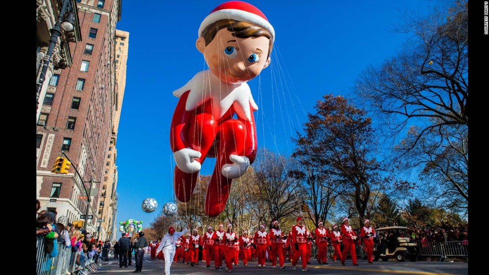 <strong>Elf on the Shelf (2012):</strong> This balloon was created by Keith Lapinig of Queens, New York, for a design contest in 2012. The public voted for their favorite elf balloon out of 85 submissions.