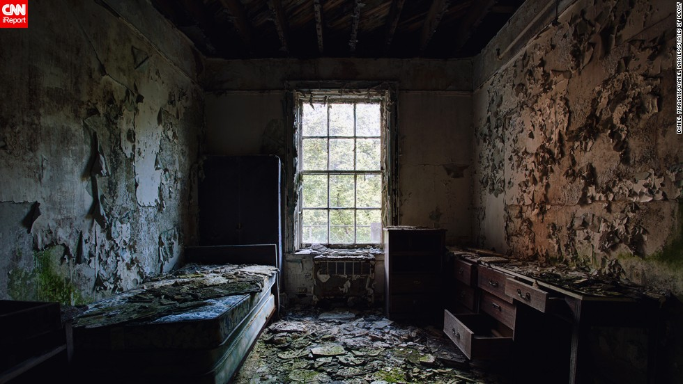 They explored parts of central New York state, where they found this room with a view in an abandoned Masonic lodge.