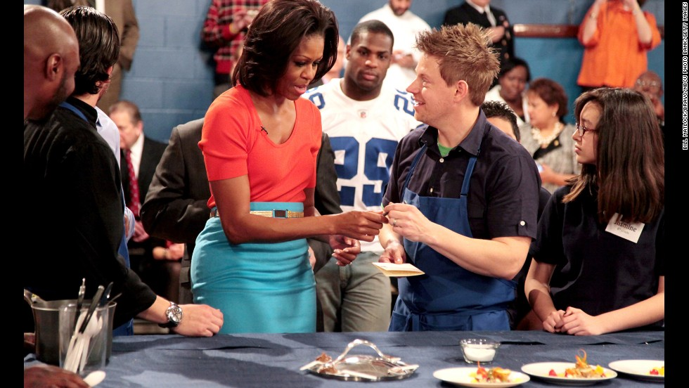 "First lady Michelle Obama visits Blais on ""Life After Top Chef"" in February 2012."