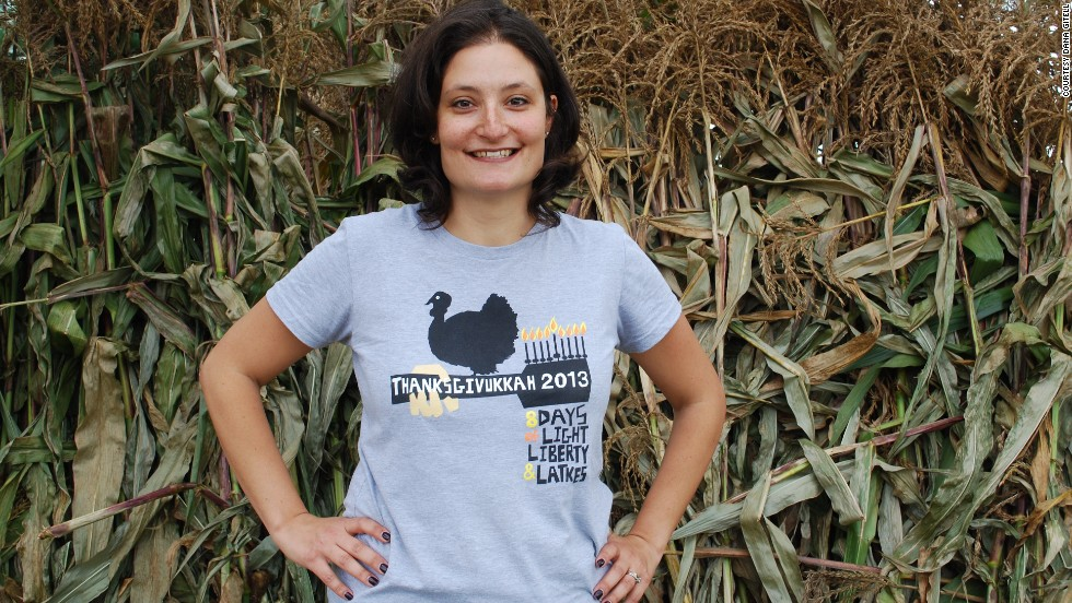 Thanksgivukkah founder Dana Gitell sports a Woodstock-inspired Thanksgivukkah T-shirt.