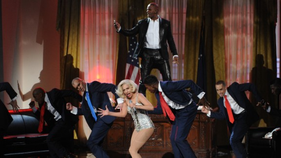 "Lady Gaga performs her song ""Do What U Want"" with R&B singer R. Kelly."