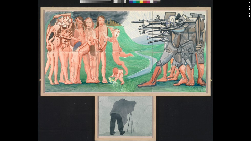 The Massacre and the Problems of Depiction. Hockney challenges traditional ideas of perspective throughout A Bigger Exhibition, often questioning the value of a single viewpoint. Here, Hockney mashes up two masterpieces of perspectival shift: Picasso's Les Demoiselles d'Avignon and Goya's The Shootings of May 3rd.