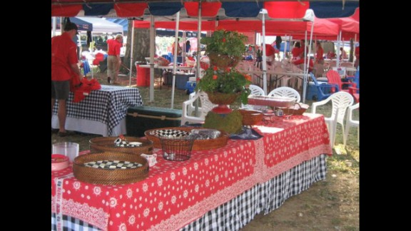 Paula Jones' tailgating tent at the Grove, early in the setup process.