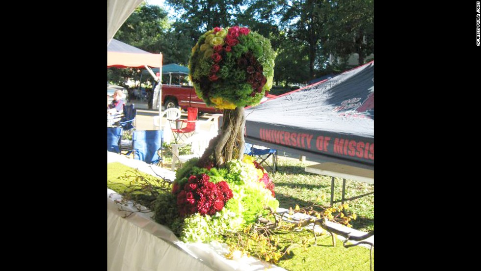 An example of an extravagant Ole Miss tailgating centerpiece.