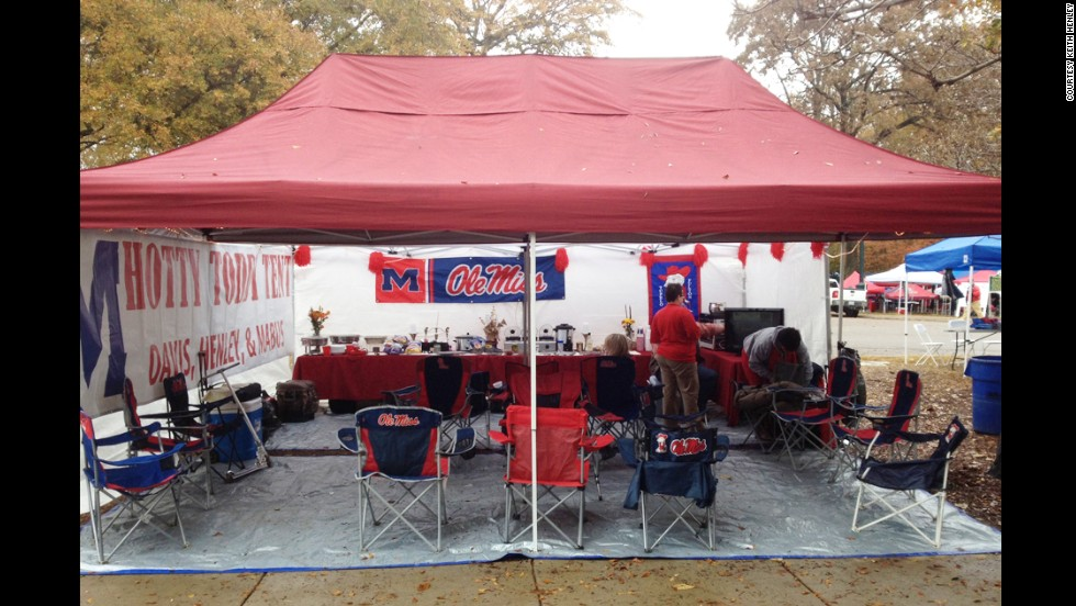 "Keith Henley's ""Hotty Toddy"" tailgate setup in the Grove on the University of Mississippi campus in Oxford."