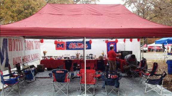 """Keith Henley's """"Hotty Toddy"""" tailgate setup in the Grove on the University of Mississippi campus in Oxford."""