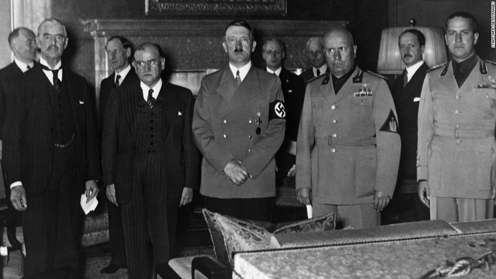 The Munich Agreement, signed in September 1938, has been criticized for appeasing Adolf Hitler after the Germans annexed parts of western Czechoslovakia. From left to right are British Prime Minister Neville Chamberlain, French Prime Minister Edouard Daladier, Hitler, Italian Prime Minister Benito Mussolini and Italian Foreign Minister Gian Galeazzo Ciano.