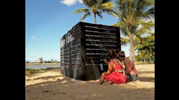 Meditations on well-being on a wall in Townsville, Australia.