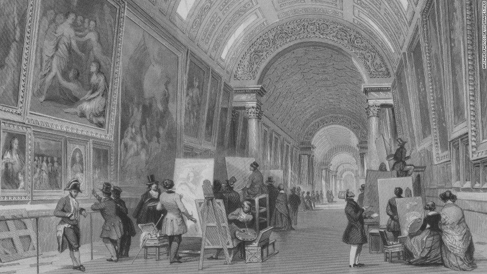 This engraving from 1844 shows visitors flocking to the Louvre to paint their own copies of great works of art. Previous copyists included artists Paul Cezanne and Pablo Picasso, who came to the Louvre to learn from the Renaissance masters.