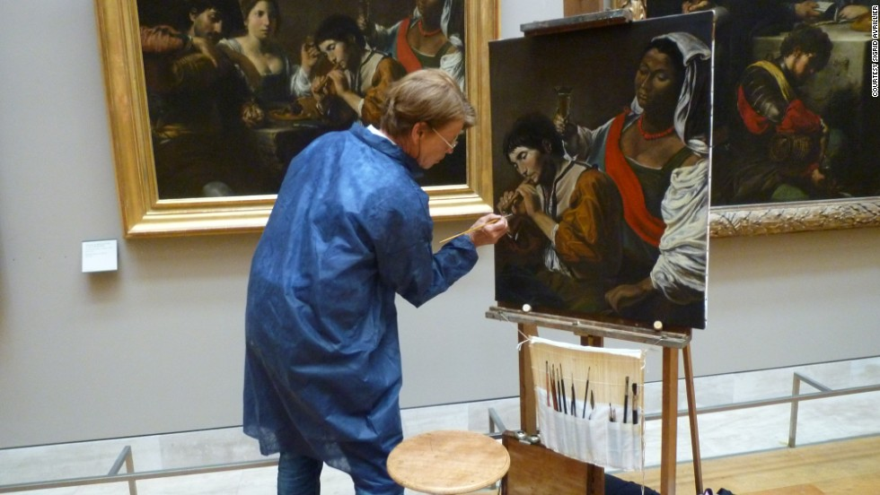 Frenchwoman Sigrid Avrillier is just one of 150 copyists who paints versions of the Louvre's masterpieces. The tradition dates back to the 1700s, and today there is a one-year waiting list to join.