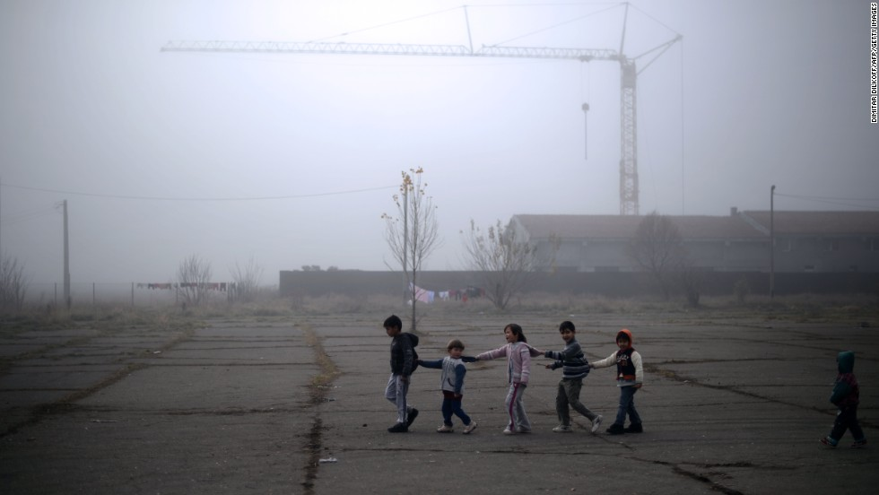 Young Syrian refugees play at the recently opened Vrazhdebna shelter in Sofia on Friday, November 22.
