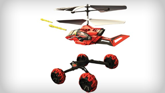 The Drop Strike toy gives military drones a run for their money with the ability to drive, eject from its chassis, fly away and launch (toy) missiles.    Price: Around $49.99
