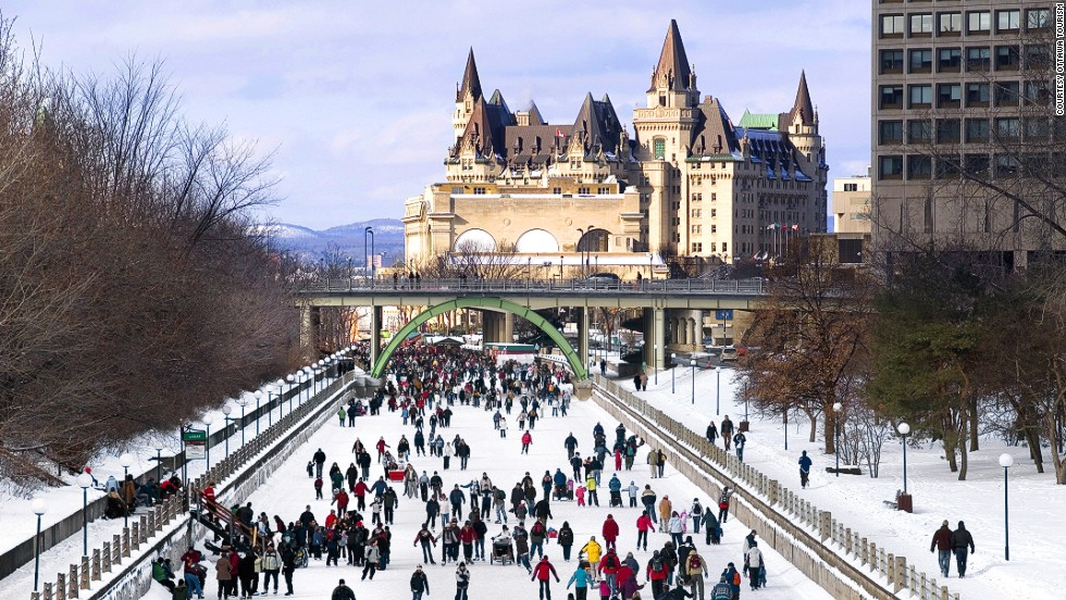 Each winter, one million people use the five-mile frozen stretch of the Rideau Canal that passes through the center of Ottawa. Shelters, chalets and access ramps for maintenance vehicles are installed to ensure the safety of commuters.