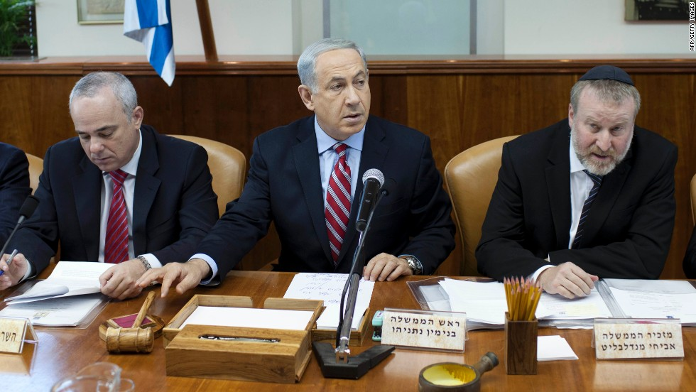 "Israeli Prime Minister Benjamin Netanyahu chairs a cabinet meeting on November 24. He called the Iran deal ""a historic mistake."""