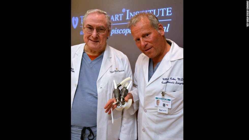 "In the early 2000s, Dr. O. H. ""Bud"" Frazier, left, and Dr. Billy Cohn began by combining two LVADs, or Left Ventricular Assist Devices, to create an artificial heart. They tested the device in around 70 calves, most of whom survived through the 90-day studies."