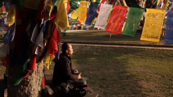 "A pilgrim meditates at a sacred ""Bodhi tree"" at the Sacred Garden of Lumbini. More than a million pilgrims visit Lumbini each year."