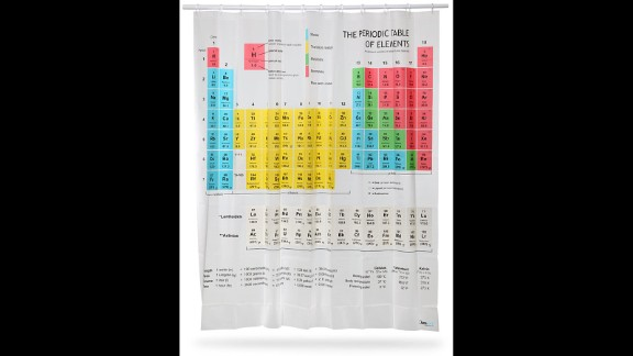 """If you want to learn while you shampoo ... the Periodic Table Shower Curtain is the place to start. As seen on """"The Big Bang Theory,"""" this 71-inch-by-71-inch curtain, made of sturdy EVA vinyl, features all the elements from hydrogen to roentgenium (OK, so it lacks copernicium -- even IUPAC takes time for deliberation) and doesn't skimp on the lanthanides. Also with handy metric-English equivalents. (ThinkGeek.com, $29.99)"""