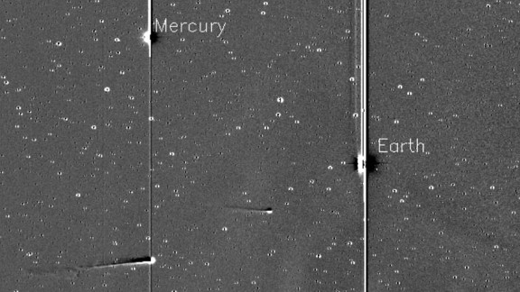 Comet ISON, with Comet Encke ahead, is pictured along with Mercury and Earth in this image taken by NASA