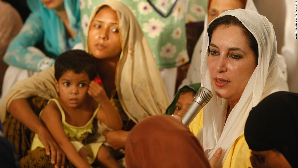 Family and friends of the victims from the October 2007 bombing meet with Bhutto during a prayer service at her house in Karachi.