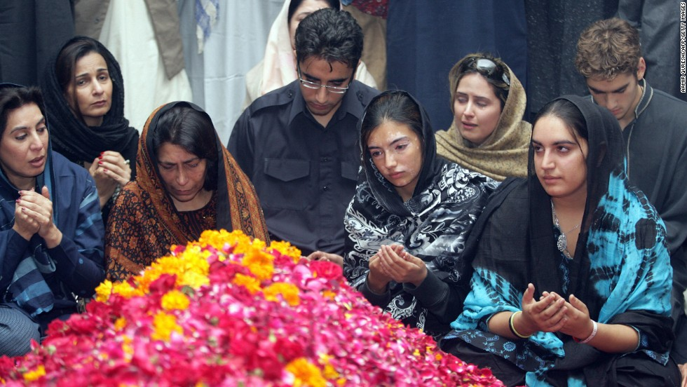 Bhutto's family attends her funeral on December 29, 2007 in the village of Ghari Khuda Baksh, including her son Bilawali, and daughters Asifa and Bakhtawar.