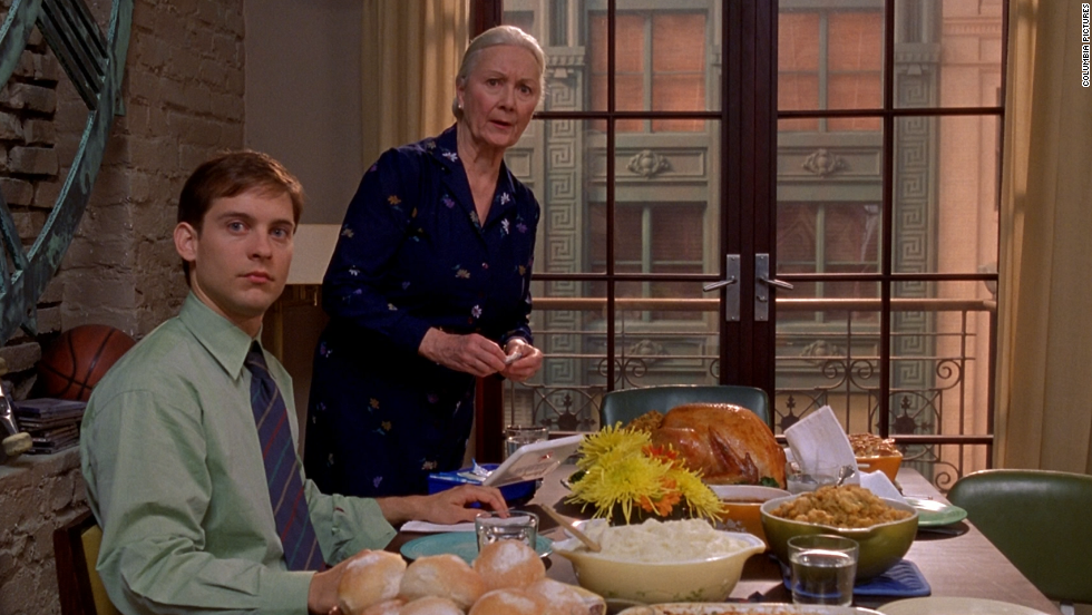 "In ""Spider-Man,"" it's at the Thanksgiving dinner that the psychotic Norman Osborn (Willem Dafoe) realizes that his friend Peter Parker (Tobey Maguire) is Spidey. Norman, whose secret identity is the Green Goblin, later seeks revenge on Spider-Man and his family. Although the dinner itself is fine, it's the revelations there that put Parker's family at great risk."