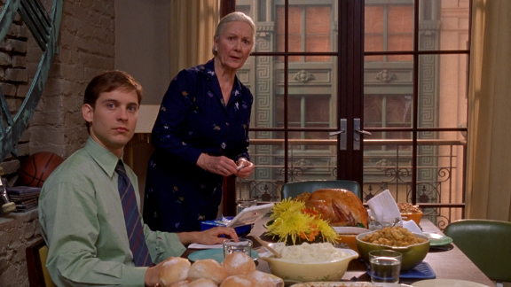 """In """"Spider-Man,"""" it's at the Thanksgiving dinner that the psychotic Norman Osborn (Willem Dafoe) realizes that his friend Peter Parker (Tobey Maguire) is Spidey. Norman, whose secret identity is the Green Goblin, later seeks revenge on Spider-Man and his family. Although the dinner itself is fine, it's the revelations there that put Parker's family at great risk."""